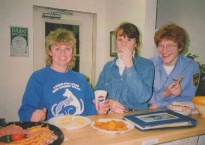 Humane society staff eating snacks