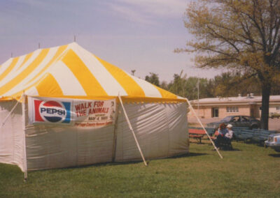 Walk for the Animals event tent in 1985