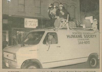 Humane Society van in holiday parade 1993