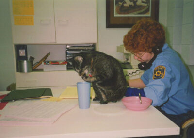 Humane officer on phone next to cat on desk
